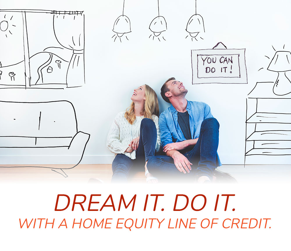 Dream it. Do it! With a home equity line of credit. Couple imagining new renovations.