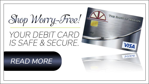 Shop worry-free. Your debit card is safe & secure. Read more button.