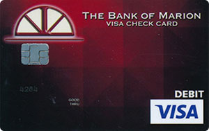 red pixel debit card design