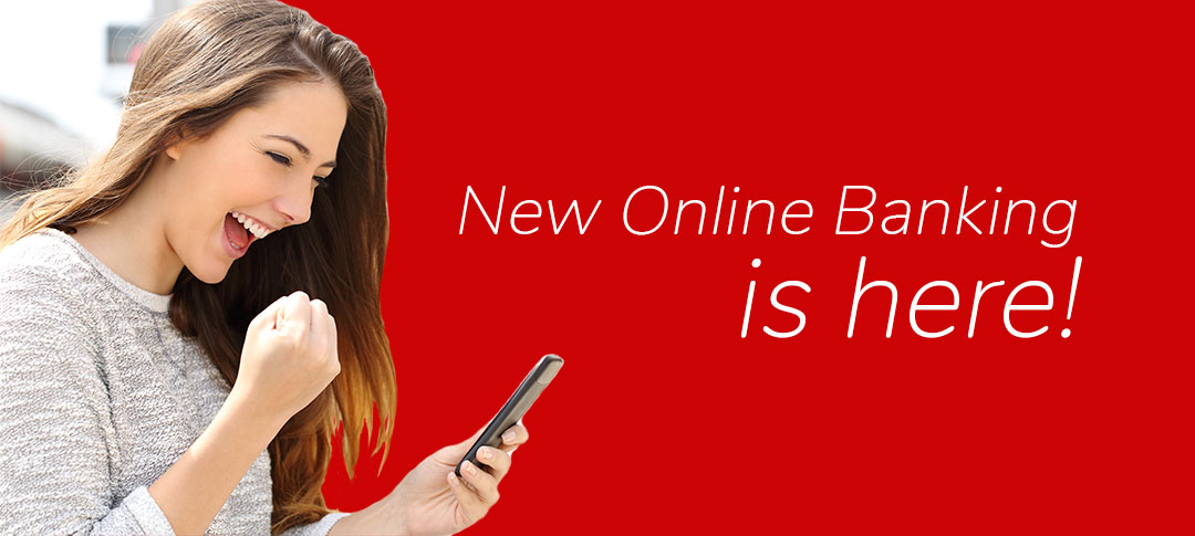 Woman looking at phone giving a fist pump. New Online Banking is here!