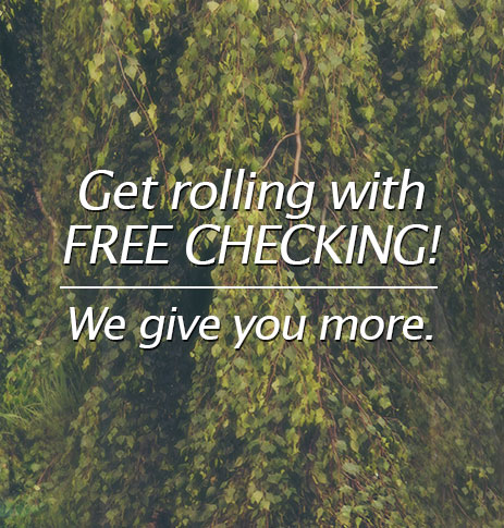 Get rolling with FREE Checking. We give you more.