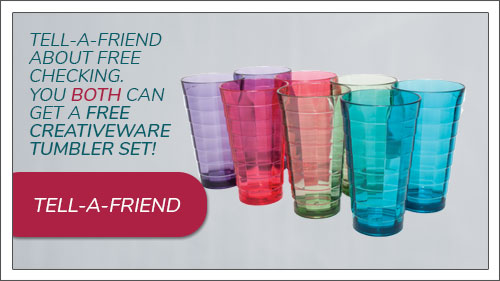 Image button to tell-a-friend form. Tell a friend about free checking and get a Brentwood Cooler