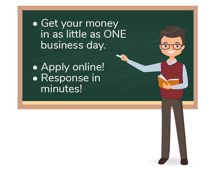 Get your money in as little as ONE business day. Apply online! Response in minutes!